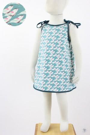 Kinder-Sommerkleid zum Binden mintgrün mit Meisen