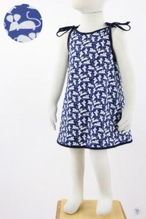 Kinder-Sommerkleid zum Binden blau mit Mäusen