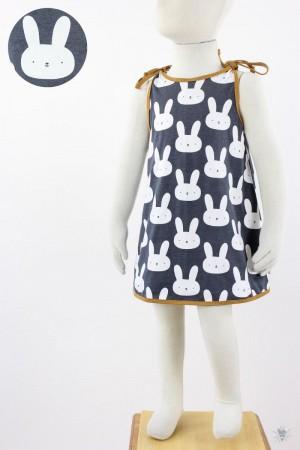Kinder-Sommerkleid zum Binden anthrazit mit Hasen
