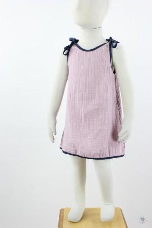 Kinder-Sommerkleid zum Binden Musselin altrosa