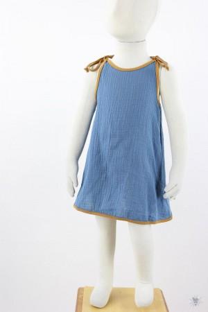 Kinder-Sommerkleid zum Binden Musselin hellblau