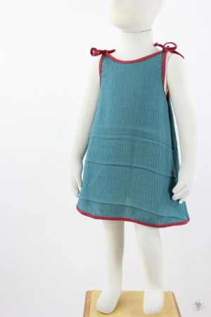 Kinder-Sommerkleid zum Binden Musselin petrol