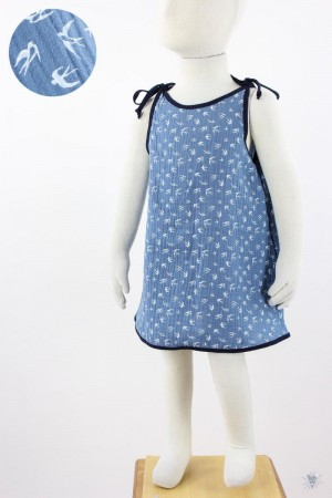 Kinder-Sommerkleid zum Binden Musselin blaue Schwalben