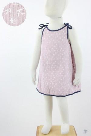 Kinder-Sommerkleid zum Binden Musselin altrosa Schwalben