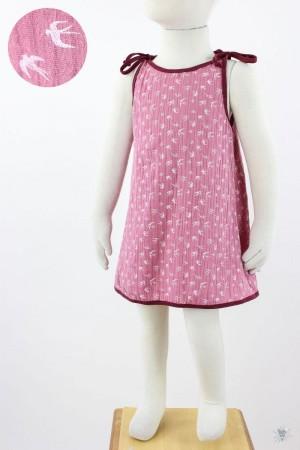 Kinder-Sommerkleid zum Binden Musselin pink Schwalben