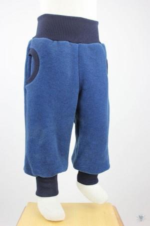 Fleecehose blau meliert mit marine Bündchen