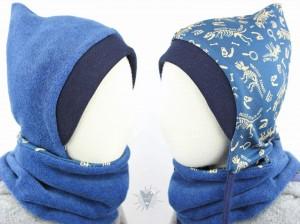 Kinder-Fleecemütze zum Wenden, blau meliert/Dinoskelette