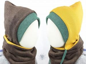 Kinder-Fleecemütze zum Wenden, braun meliert/Punkte auf gelb KU 41-43