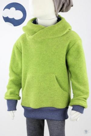 Kinder-Fleecepulli grün meliert mit Woken auf blau