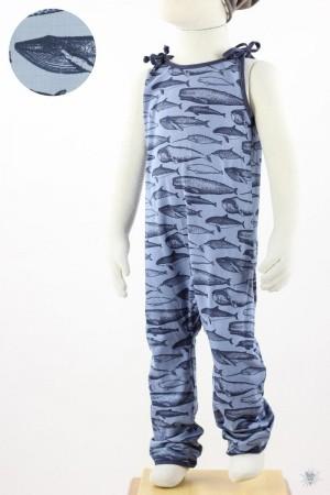 ärmelloser Jumpsuit zum Binden, Wale auf blau