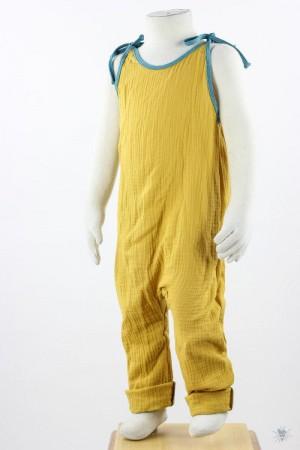 ärmelloser Jumpsuit zum Binden, gelber Musselin