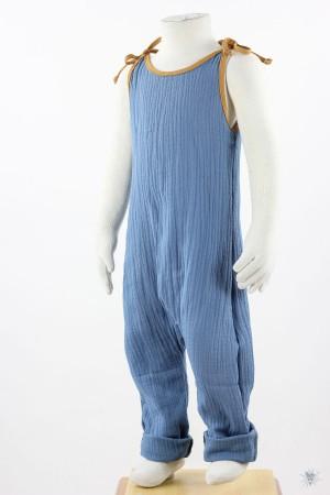 ärmelloser Jumpsuit zum Binden, blauer Musselin