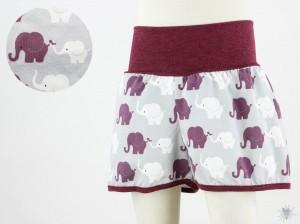 kurze Hose für Kinder mit Elefanten auf grau