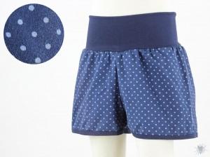 kurze Hose für Kinder mit blauen Punkten auf dunkelblau