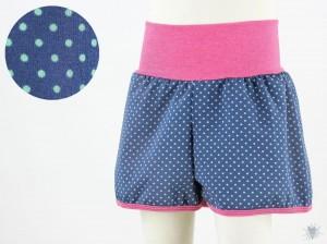 kurze Hose für Kinder mit türkisen Punkten auf dunkelblau