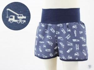kurze Hose für Kinder blau mit Baufahrzeugen