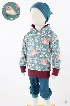 petrolfarbener Kinder-Kapuzenpulli aus Jersey mit Vögeln und Rosen
