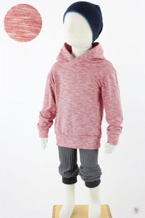 rot melierter Kinder-Kapuzenpulli aus Bio-Baumwolle