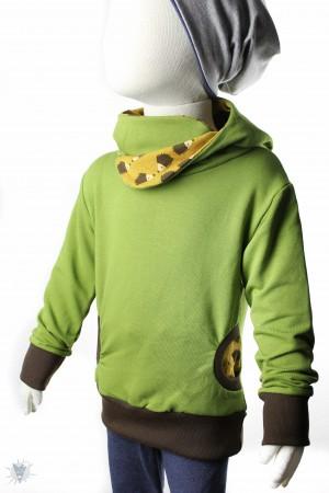 Kapuzenpulli grün mit Igeln auf gelb