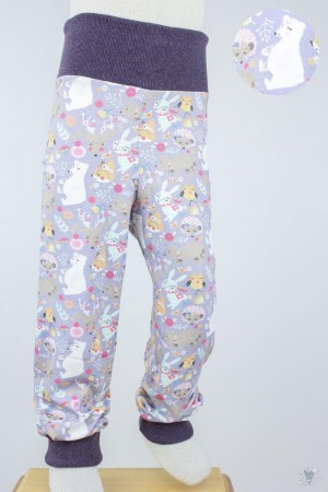 Kinder-Leggings lila mit Wintertieren