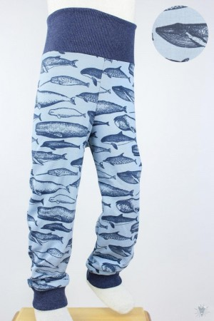 Kinder-Leggings blau mit Walen