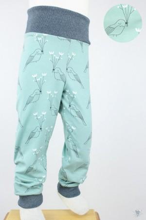 Kinder-Leggings mintgrün mit Vögeln und Blumen