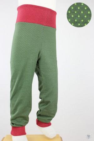 Kinder-Leggings grün mit Punkten