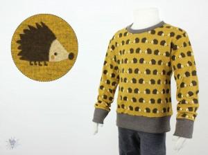 Kinder-Longsleeve mit Igeln auf gelb