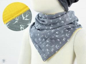 Musselintuch zum Wenden, Vögel grau/gelb
