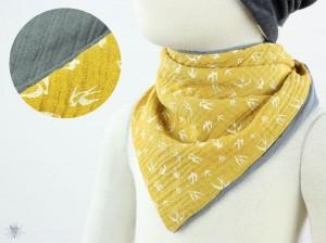 Musselintuch zum Wenden, Vögel gelb/grau