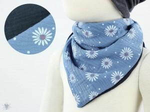 Musselintuch zum Wenden, Blumen taubenblau/marine