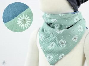 Musselintuch zum Wenden, Blumen grün/taubenblau