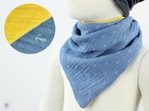 Musselintuch zum Wenden, Anker taubenblau/gelb