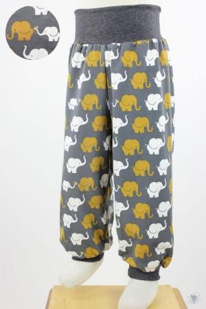 Kinder-Jerseyhose mit Elefanten auf dunkelgrau 98/104