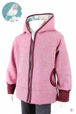 Kinder-Softshelljacke rosa meliert, Rosen & Vögel