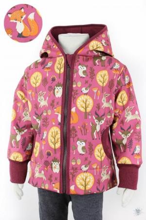 Kinder-Softshelljacke pink mit Waldtieren, beere