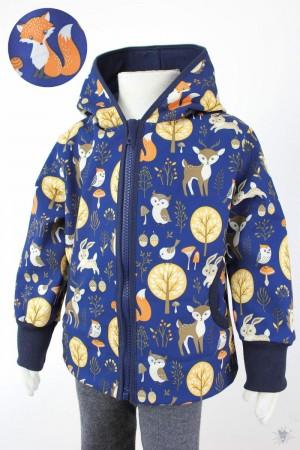 Kinder-Softshelljacke dunkelblau mit Waldtieren, marine