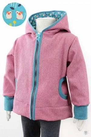 Kinder-Softshelljacke rosa meliert mit kleinen Mäusen