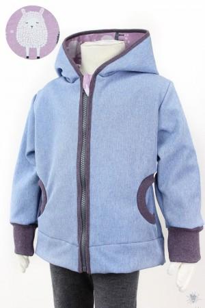 Kinder-Softshelljacke hellblau meliert mit Schafen auf beere