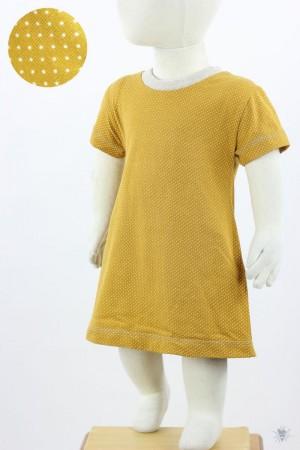 Kinder-Jerseykleid mit Punkten auf gelb
