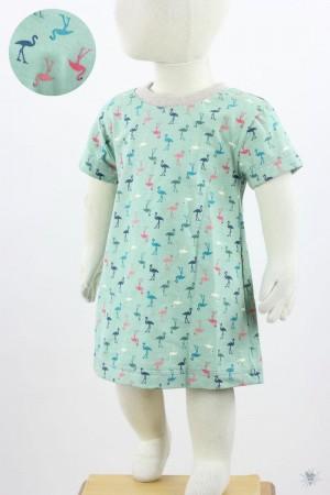 Kinder-Jerseykleid mit Flamingos auf mintgrün