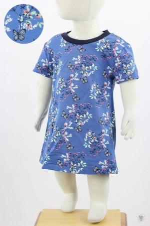 Kinder-Jerseykleid mit Schmetterlingen und Blumen auf blau