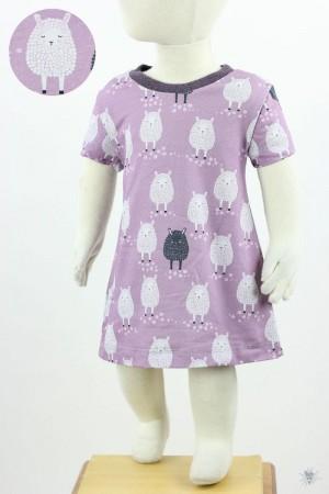 Kinder-Jerseykleid mit Schafen auf lila