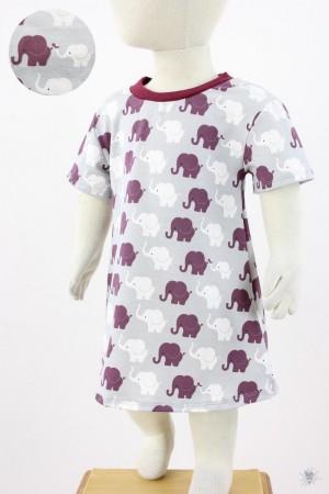 Kinder-Jerseykleid mit Elefanten auf hellgrau