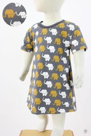 Kinder-Jerseykleid mit Elefanten auf dunkelgrau