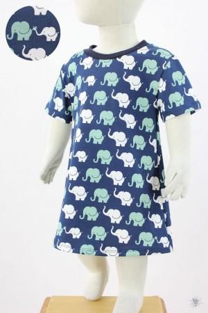 Kinder-Jerseykleid mit Elefanten auf blau