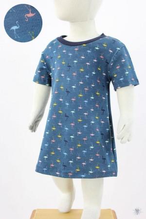Kinder-Jerseykleid mit Flamingos auf petrol