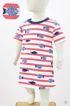Kinder-Jerseykleid gestreift mit Fischen