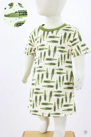 Kinder-Jerseykleid mit Krokodilen auf natur
