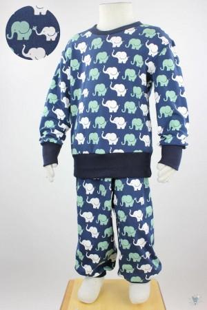 Kinder-Schlafanzug mit Elefanten auf dunkelblau 110/116